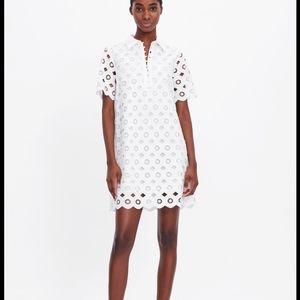 Zara white lace embroidered shirt collar mini dres